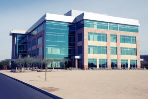 Modern Commercial Building: instant photo style, Shadows are blu